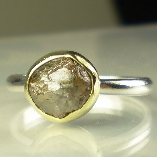 natural rough diamond engagement ring 18k gold by janishjewels
