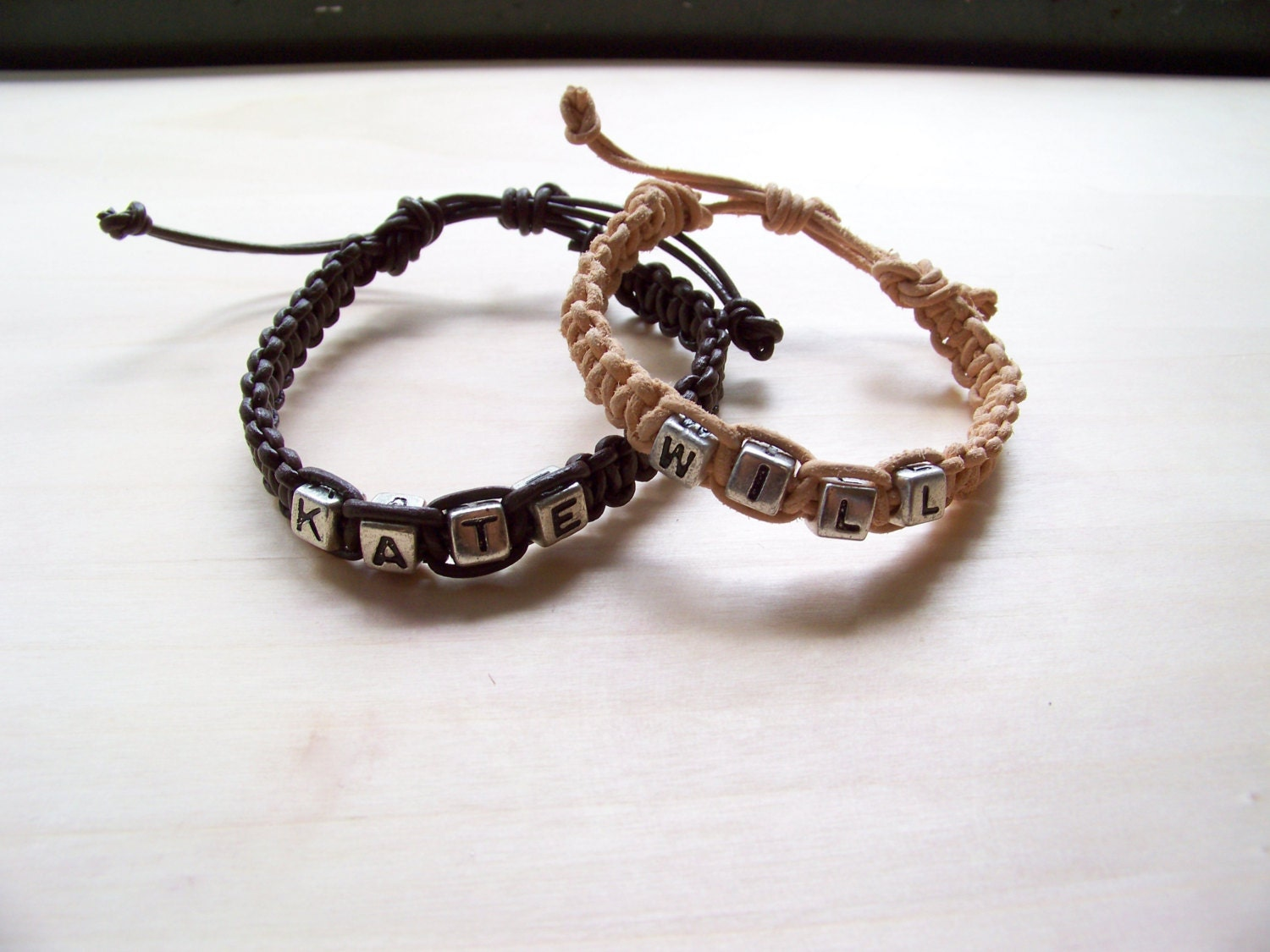 couples braided leather name bracelets set of by