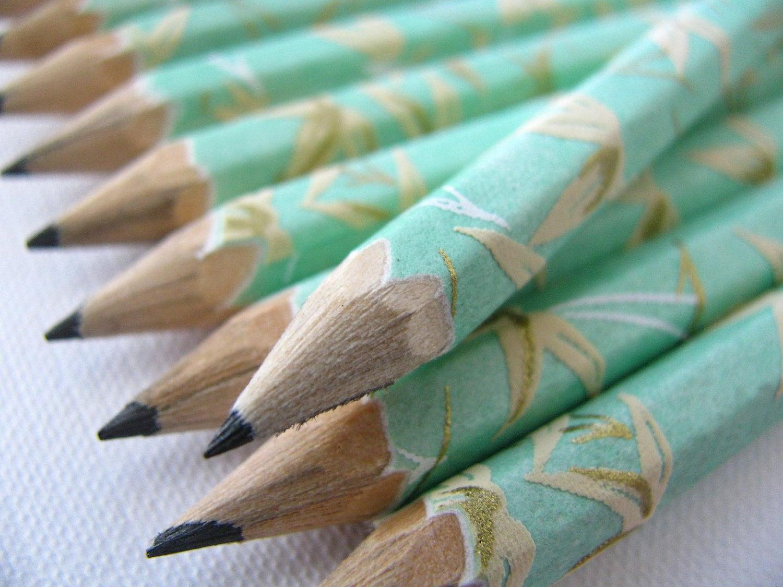 mini washi-wrapped japanese pencils - set of 10 - jade bamboo - maoiliosa