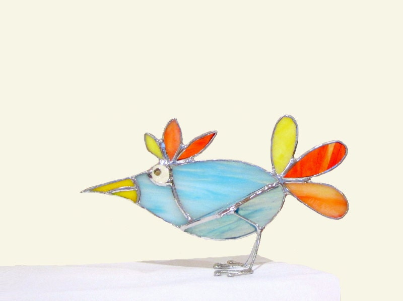 Stained Glass 3D Stand-Up Bird Ornament Handmade OOAK - FleetingStillness