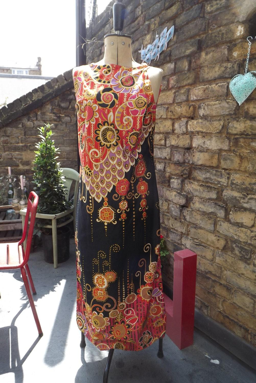 1960s Fabulous Amazing African Inspired  full length  dress 1012 UK M