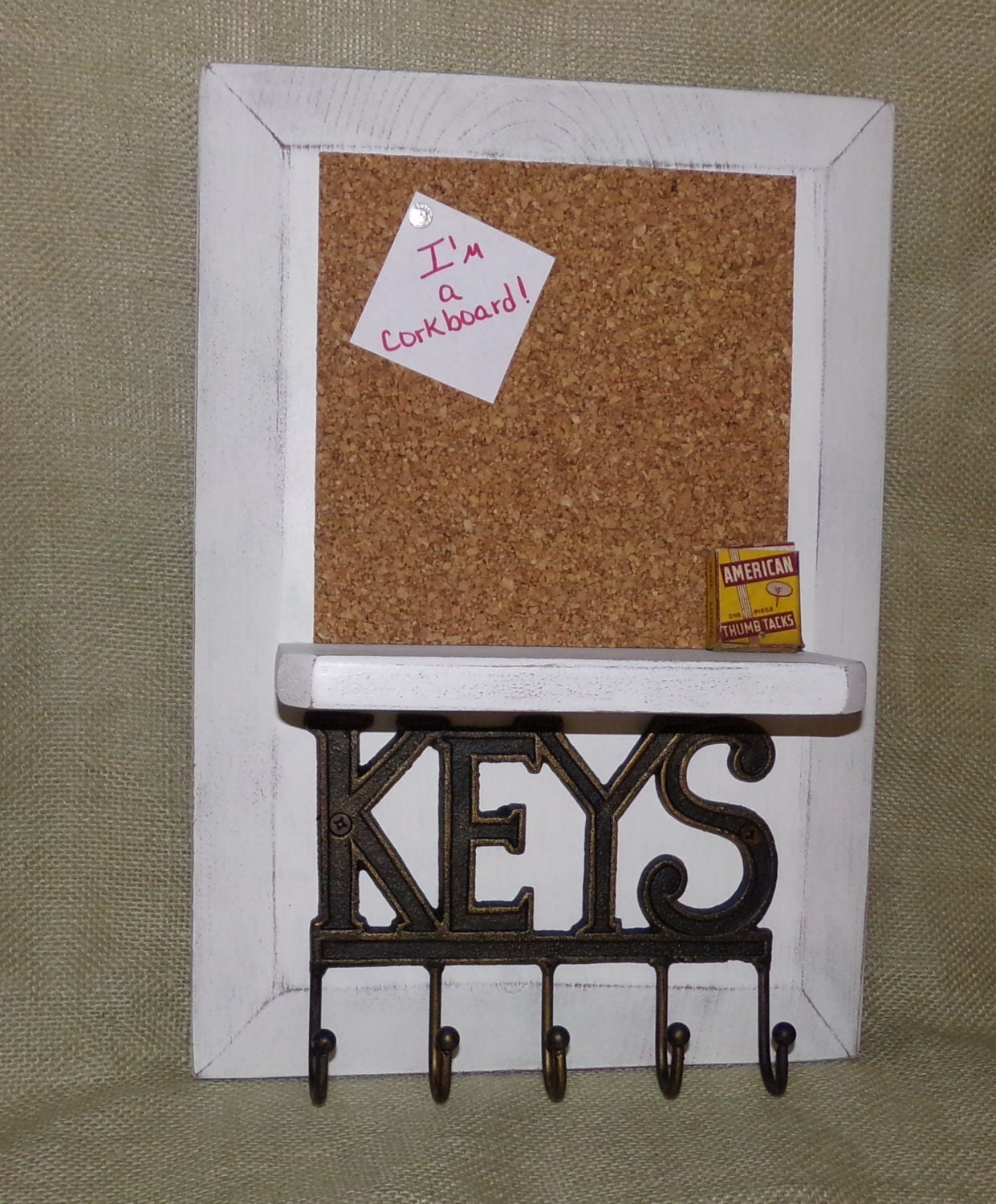 Cork board bulletin board key holder key by southernxpressions for Cork board with hooks