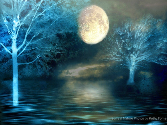 "Surreal Photography, Dreamy Blue Moon Fantasy Nature, Full Moon Over Lake, Beautiful Fine Art Nature Photography 9"" x 12"" - KathyFornal"