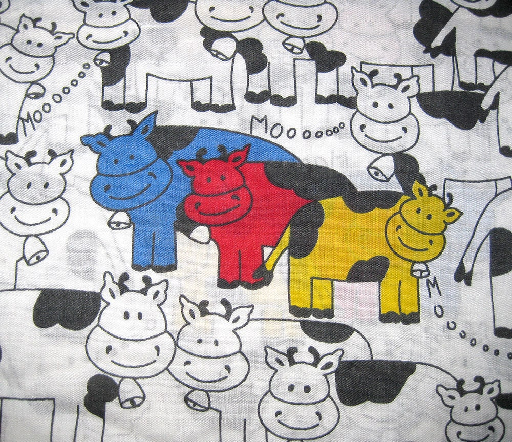 Vintage cow fabric childrens print primary by selvedgeshop for Vintage childrens fabric prints