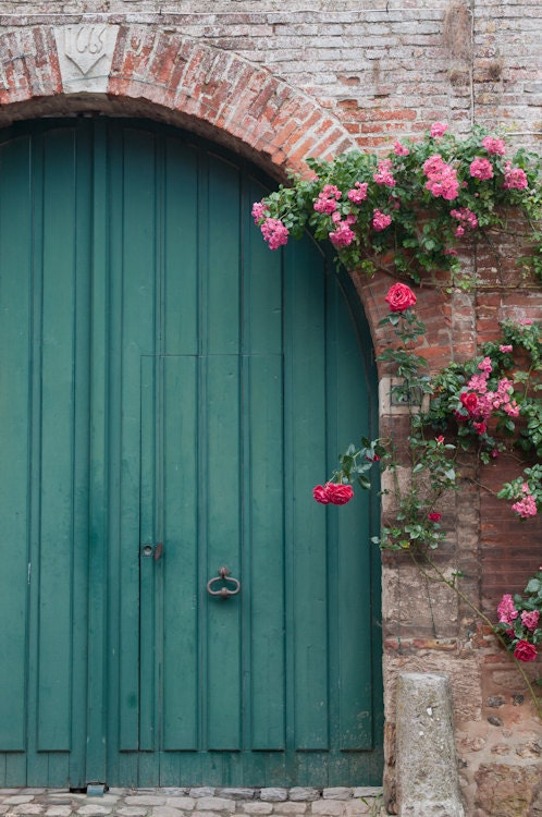 French Country Blue Door And Roses Fine Art By Georgiannalane