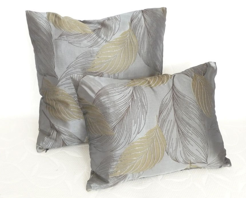 True Modern Pillows : Contemporary Leaves Pillow 12x18 Decorative by PillowThrowDecor