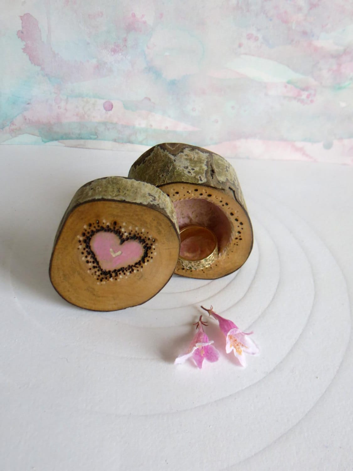 Wooden Ring Box  Valentines Gift   Wedding Ring Box  Engagement Ring Box  Jewellery box   Pink Ring Box Ring Pot  Handmade in Wales