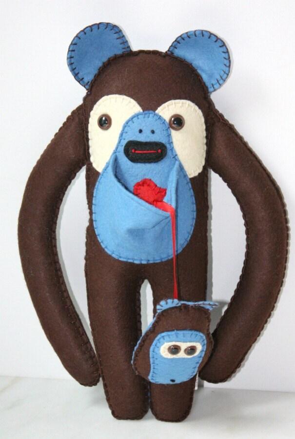Felt Stuffed Plush Monkey Bear Animal, Cute Stuffed Plushie Animal, Blue and Brown Felt Toy