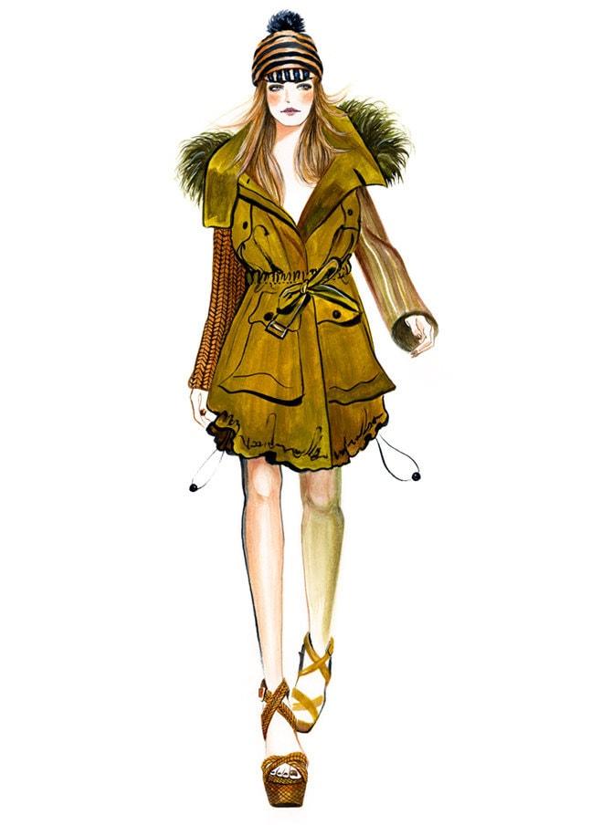 Runway Fashion Illustration - Burberry Prorsum