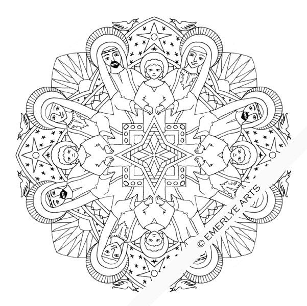 Printable Coloring Page Holy Family Mandala By Emerlyearts
