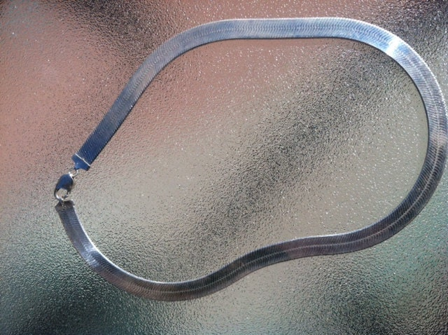 vintage wide sterling silver herringbone chain by