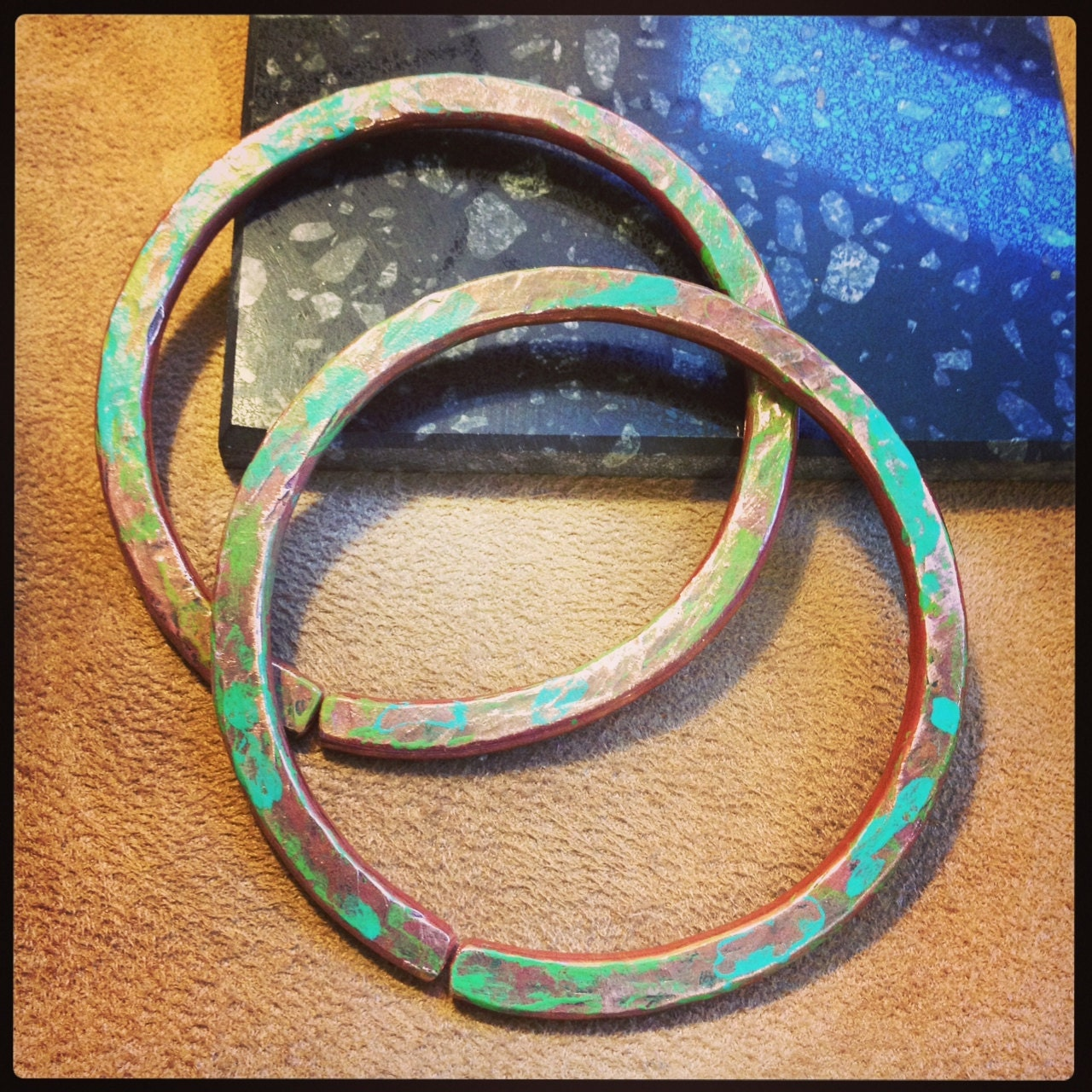 "4g Solid Copper Hammered Hoops with Patina - Earrings for Stretched Lobes, 3"" Outer Diameter - Gauges - Gauged Hoops"