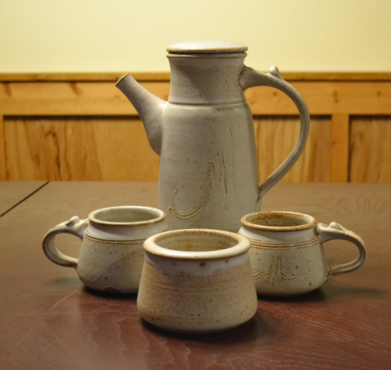 Vintage Goodsell Pottery Teapot Coffee Pot Mugs Sugar Bowl Tea Set Studio Pottery Handmade PanchosPorch - PanchosPorch