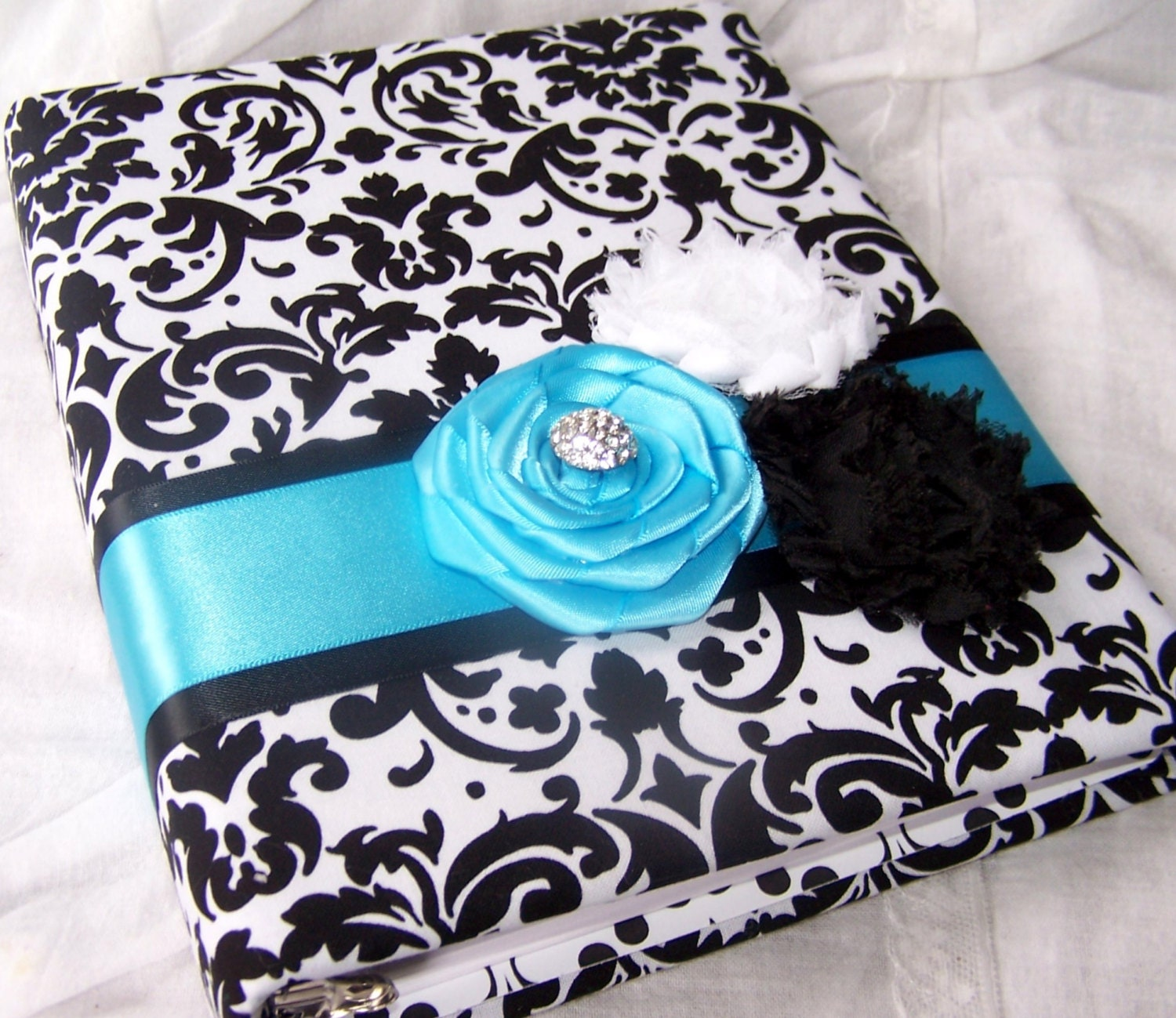 Bridal Shower Gift Record Book : Bridal Shower Gift Recording BookBlack and White Damask, Turquoise ...
