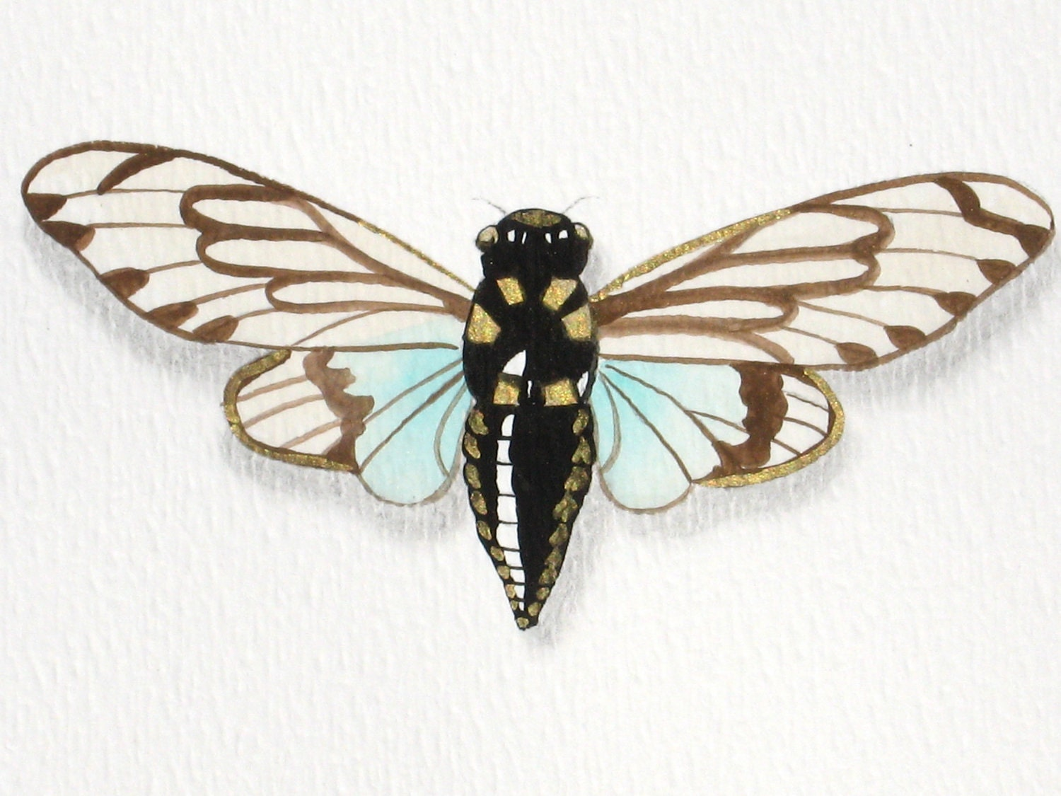 Blue Cicadas original painting insect art - WingedWorld