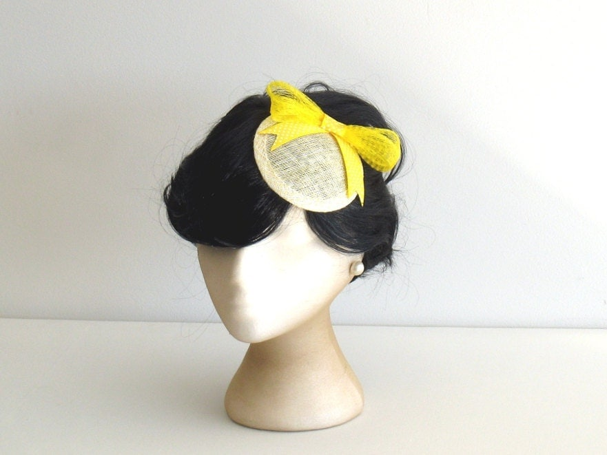 Sunshine yellow cocktail hat fascinator with bow by Bettina Millinery - BettinaMillinery