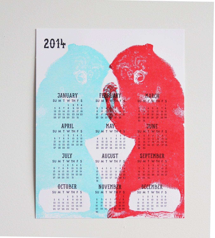 2014 Bear Calendar - WishboneLetterpress