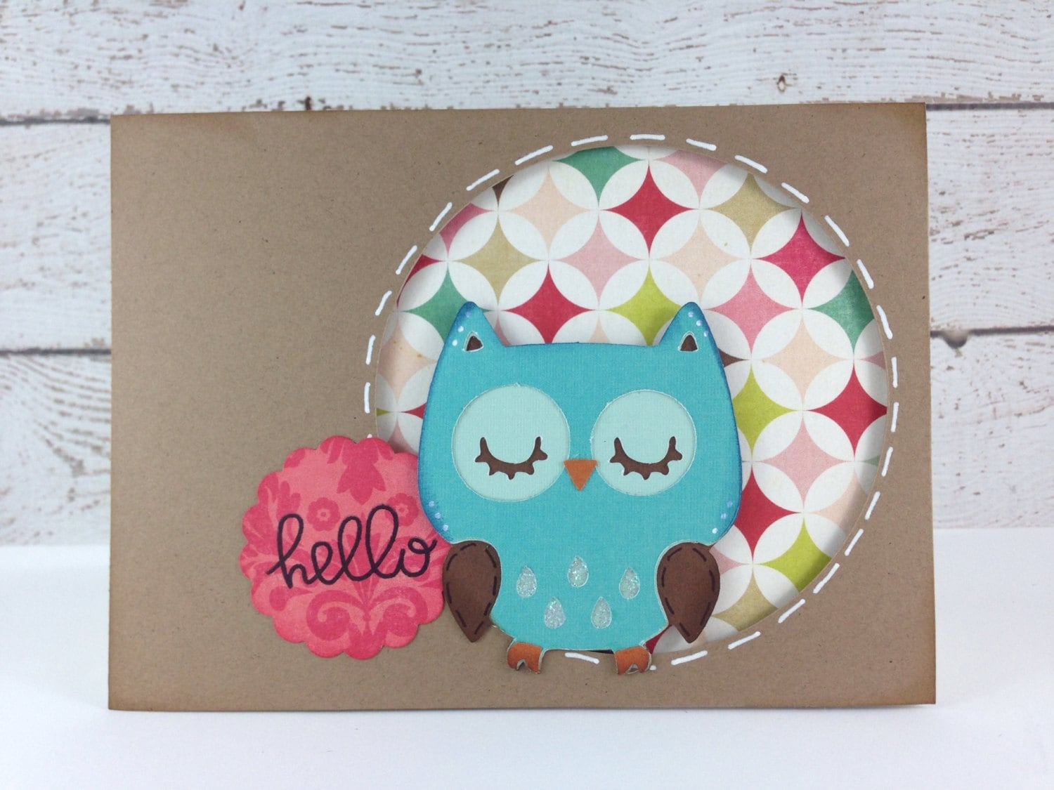 Handmade Teal Owl Greeting Card by DebbiesCutsAndCrafts on Etsy