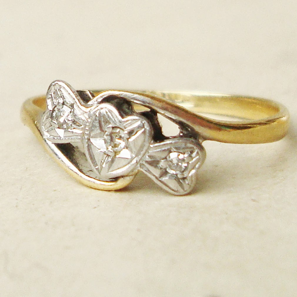deco shaped bow ring antique by luxedeluxe