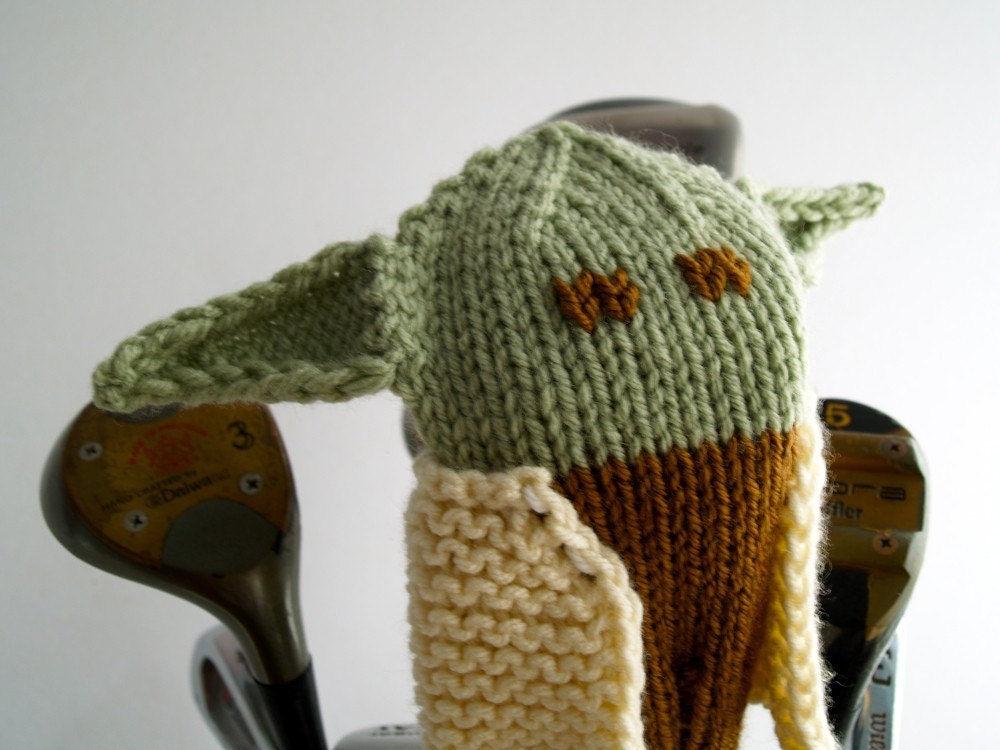 Knit PATTERN Yoda Golf Club Cover PDF by TraceyKnits on Etsy