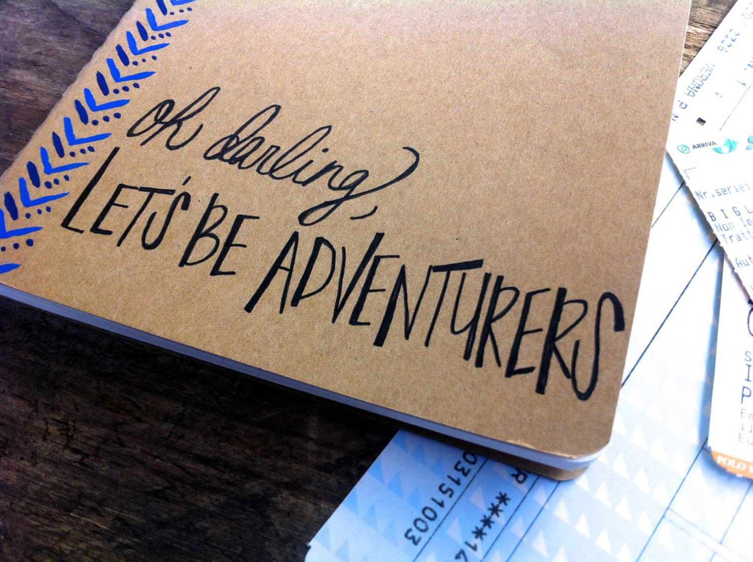 Travel Journal Oh Darling Let's Be Adventurers I Handwritten Calligraphy Monaco Blue Kraft Moleskin I Custom Notebook I Going Away Gift - DegnodiNota