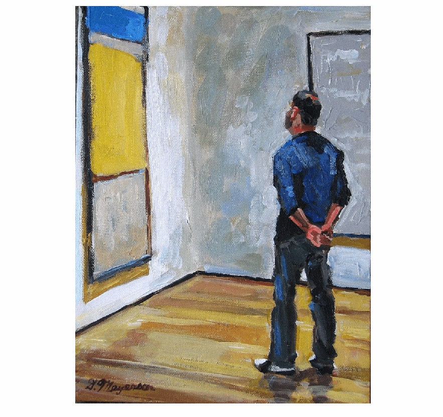 "Fine Art Print 8x10, ""Man Looking At Rothko"" yellow blue white Painting by Gwen Meyerson - GwenMeyerson"