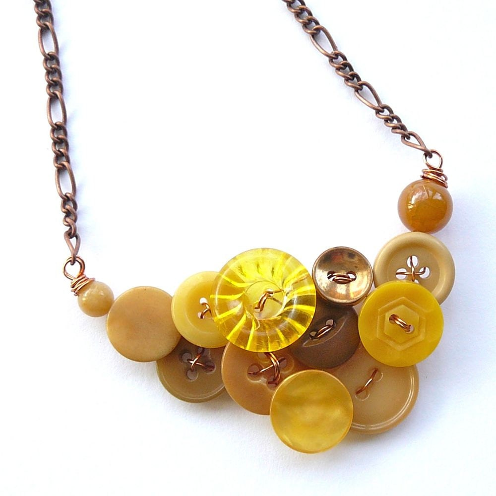 Vintage Button Necklace in Mustard Yellow and Copper - buttonsoupjewelry
