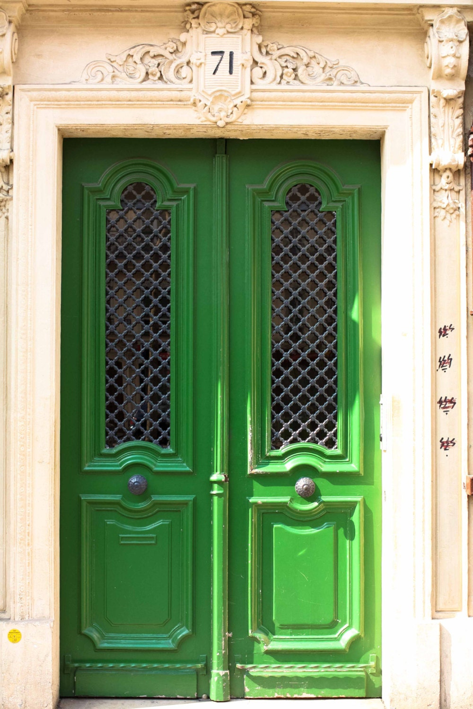 Items similar to emerald green door paris photography for Green french doors