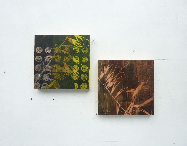 Original Monoprint on Wood Block - 5 x 5  - Citron yellow circles with Botanical image
