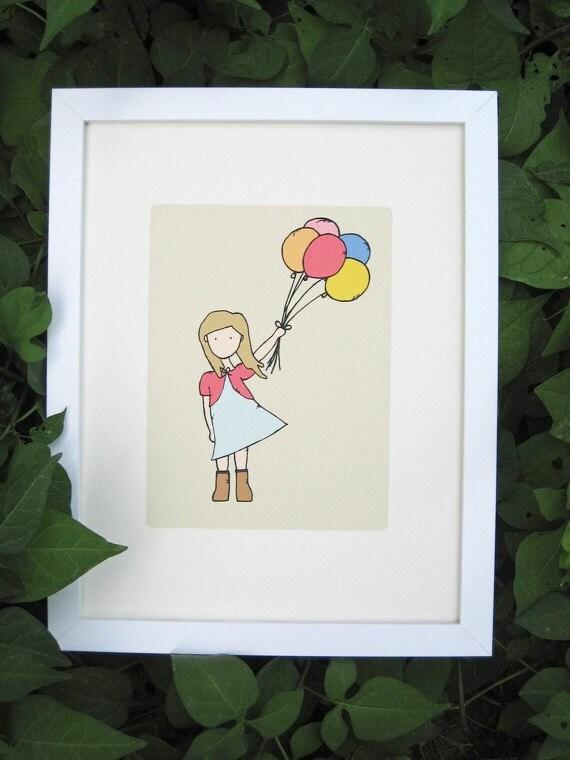 Childrens art print nursery art print girls kids by for 5x7 room design