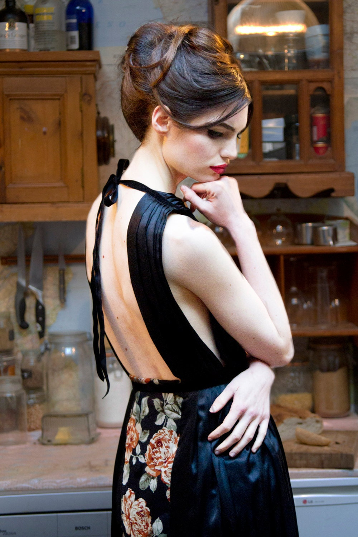 Raimunda Black Floral Mid Length Backless Dress