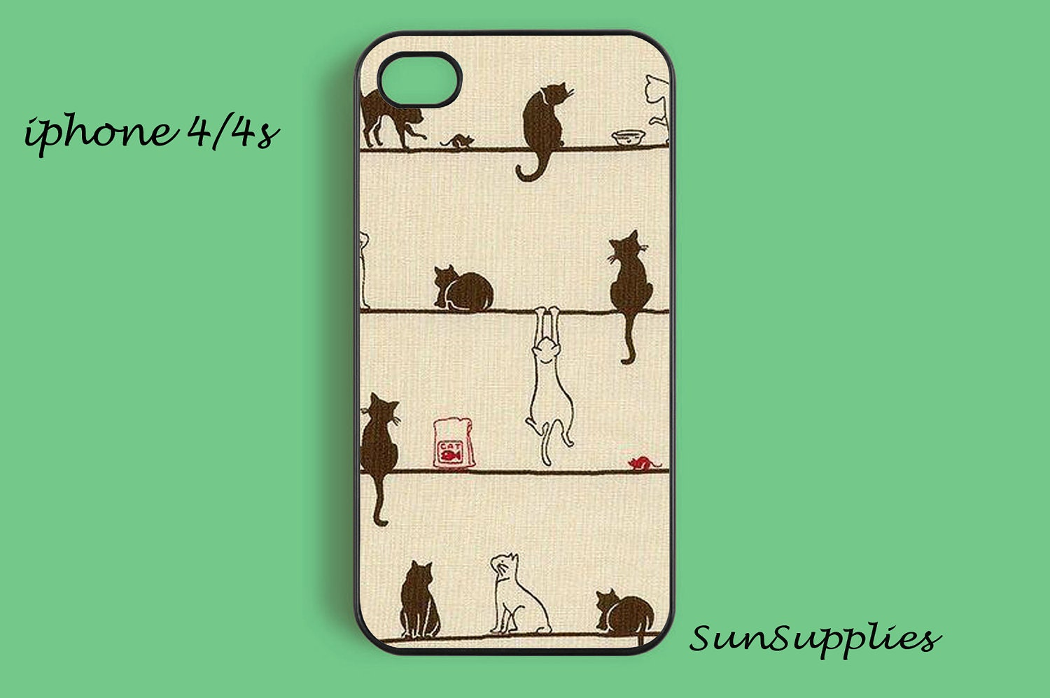 CAT iPhone 4 case iPhone 4s case iPhone cases iPhone 4 cover personalized hard plastic iPhone case - SunSupplies