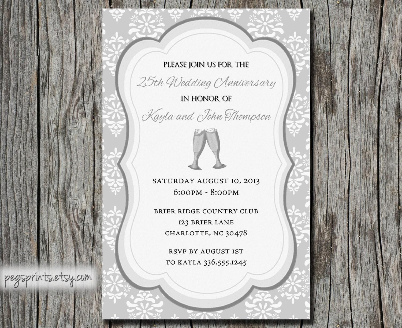 25th Wedding Anniversary Invitation Printable By PegsPrints