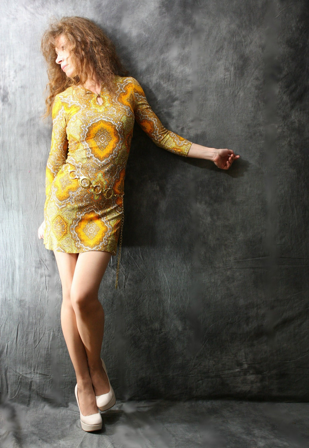 Vintage 60s Psychedelic Paisley BodyCon Go Go Dress by Helen Whiting