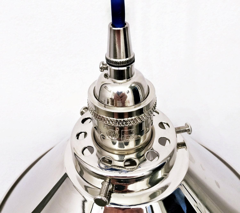 Polished Nickel Chrome Pendant Light Lamp Steampunk Industrial Black Cord Edison Pendant Rustic