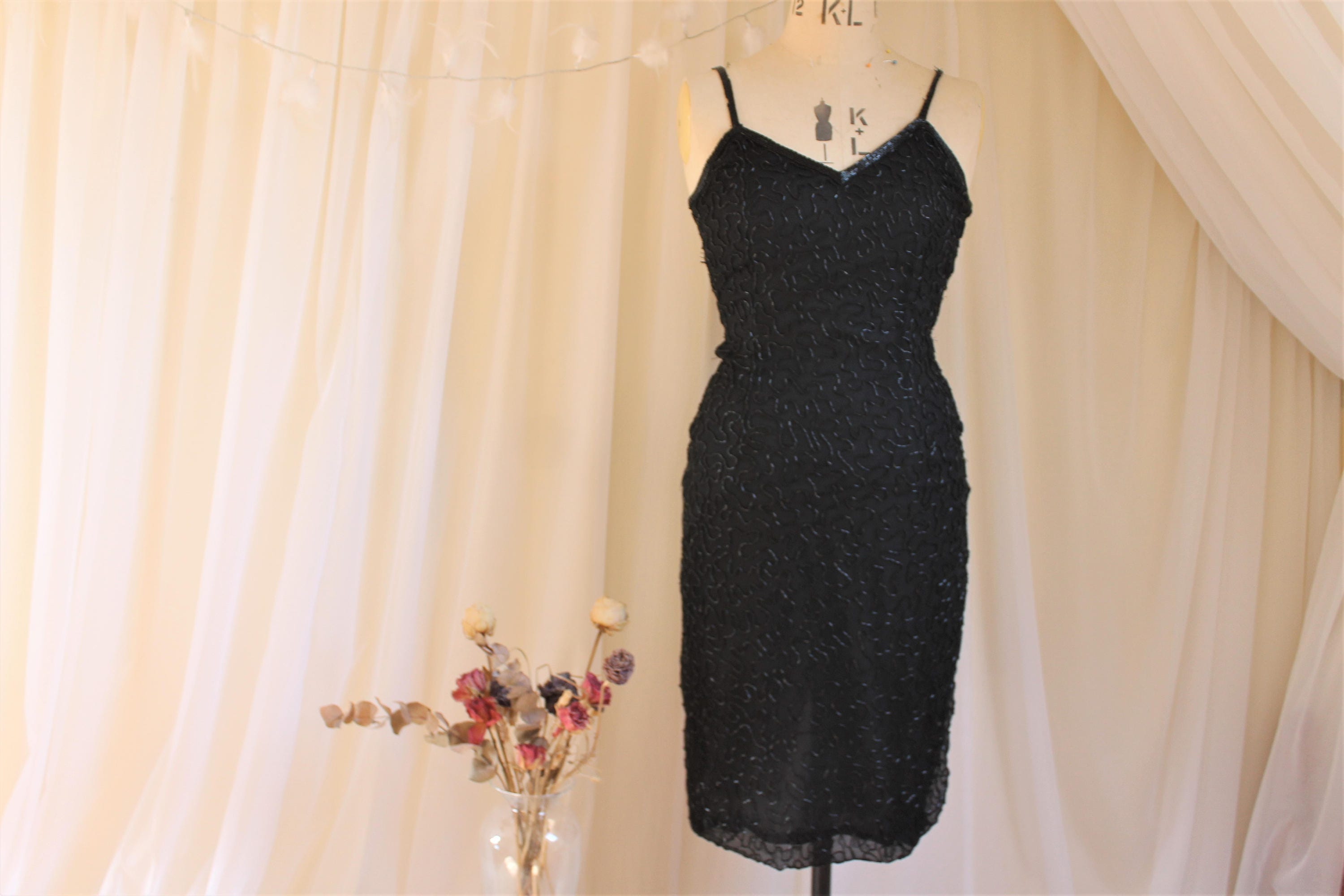 Vintage Designer Black Beaded Dress 1980s does 1920s Flapper Dress (As Is). Ronald Joyce After Six Collection. Cami wiggle dress.UK 8 US 4
