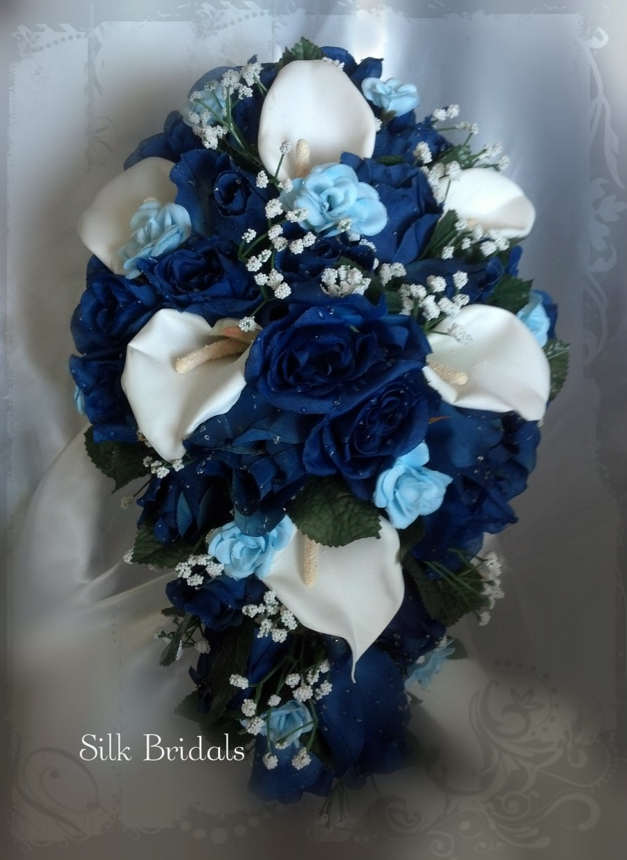 Blue And White Silk Wedding Bouquets : Royal blue and white bridal bouquet silk wedding by