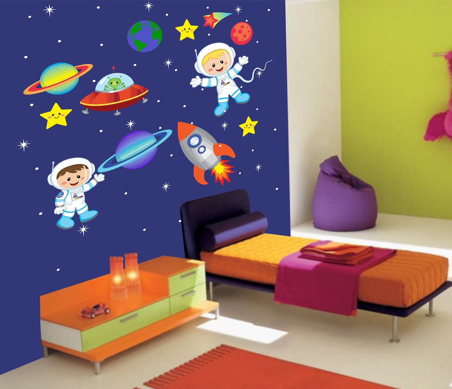 outer space children wall decal 340 by stickemupwallart on spacecraft and astronaut
