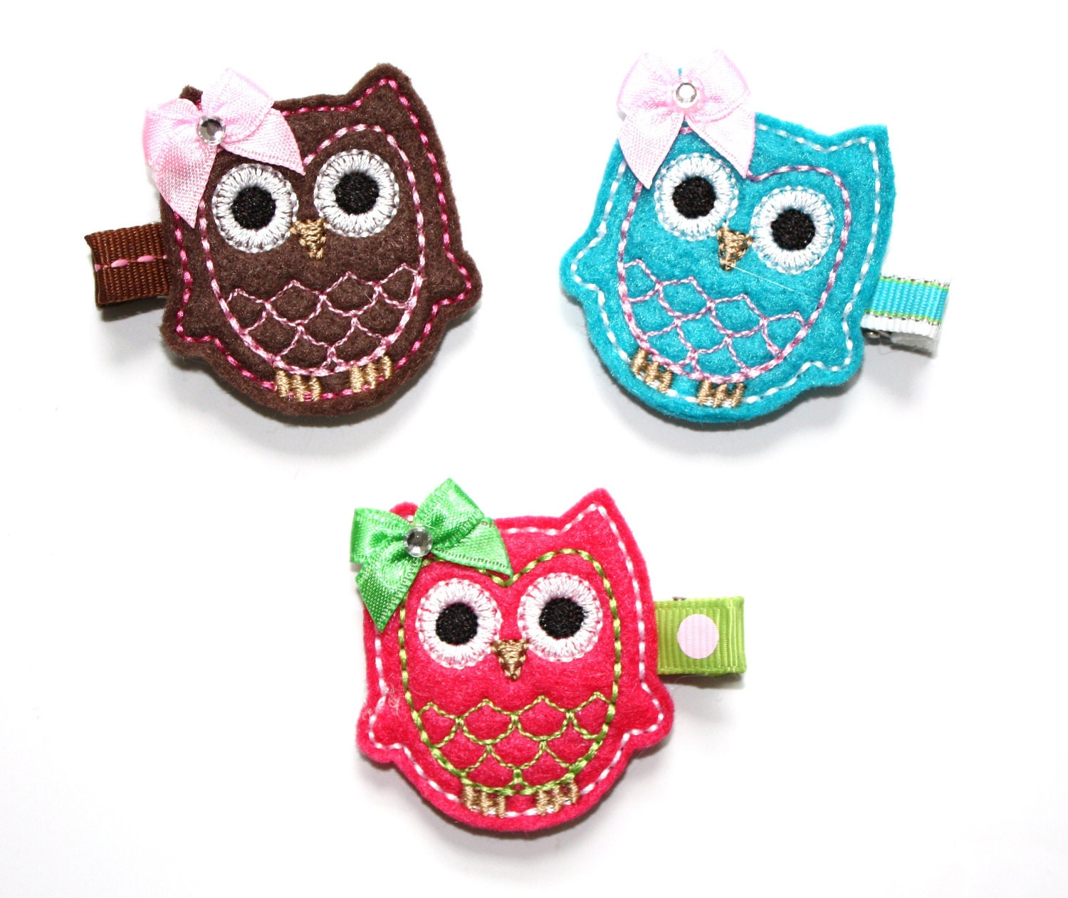 READY TO SHIP One Whimsical Felt Owl Hair Bow Clippie (one) - ThoseBows