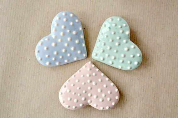 Mint Blue Pink - cream polka dotted, heart shaped, ceramic brooch, pin - fresh colors -pastel color - JasminBlancBoutique