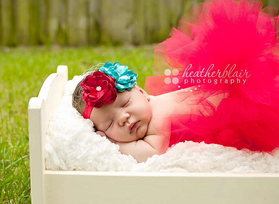 Aqua and Red Flower Duo On Red Satin Stretch Headband- Gorgeous PHOTO PROP- Newborn, Toddler, Girl, Adult