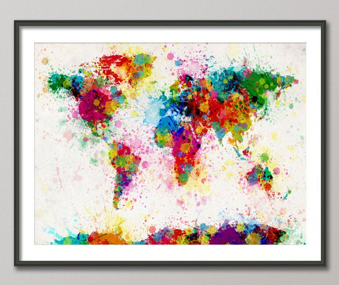 Paint Splashes Map of the World Map, Art Print 18x24 inch (168)