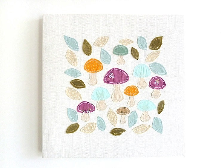 Embroidery Art Canvas - 'Foraging' Original Textile Artwork. Purple, orange & blue leaves and mushrooms - ThreeRedApples