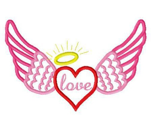 Valentine s Day heart wings angel halo applique design instant    Angel Wings Heart Halo