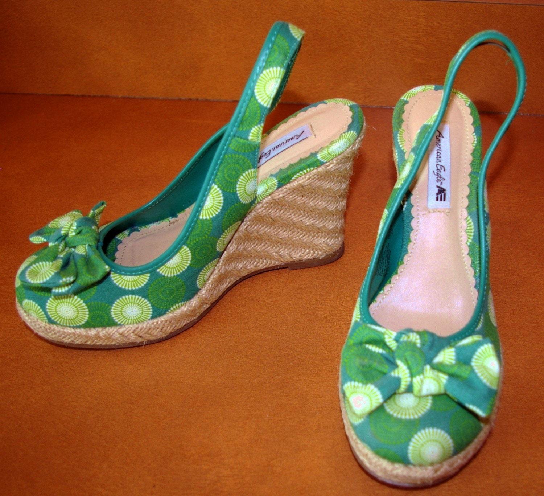 vintage summer sale sale teal green wedge shoes by
