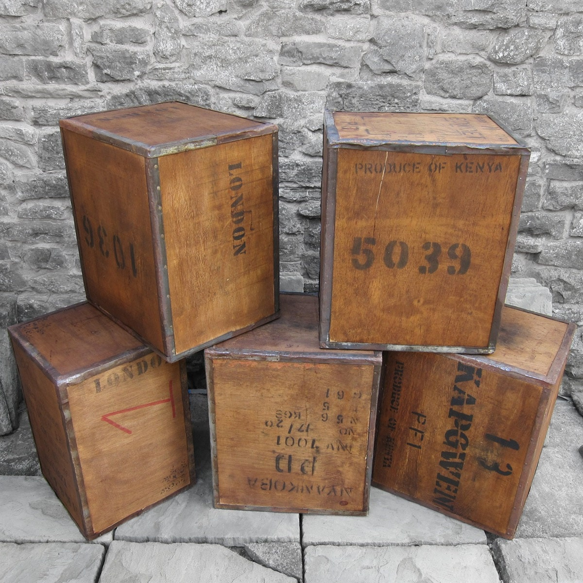 Vintage Tea Chest Trunk Box Crate Storage Side Table BedSide  London Antique Display Shop Window