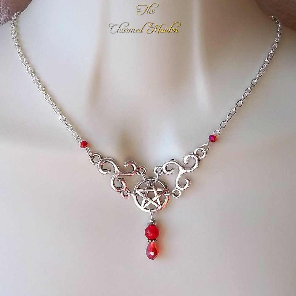 Pentagram  Triskele Necklace Red Jade Necklace Celtic Necklace Gemstone Necklace Triskelion Pentacle Pagan Druid Wiccan WiccaGoth