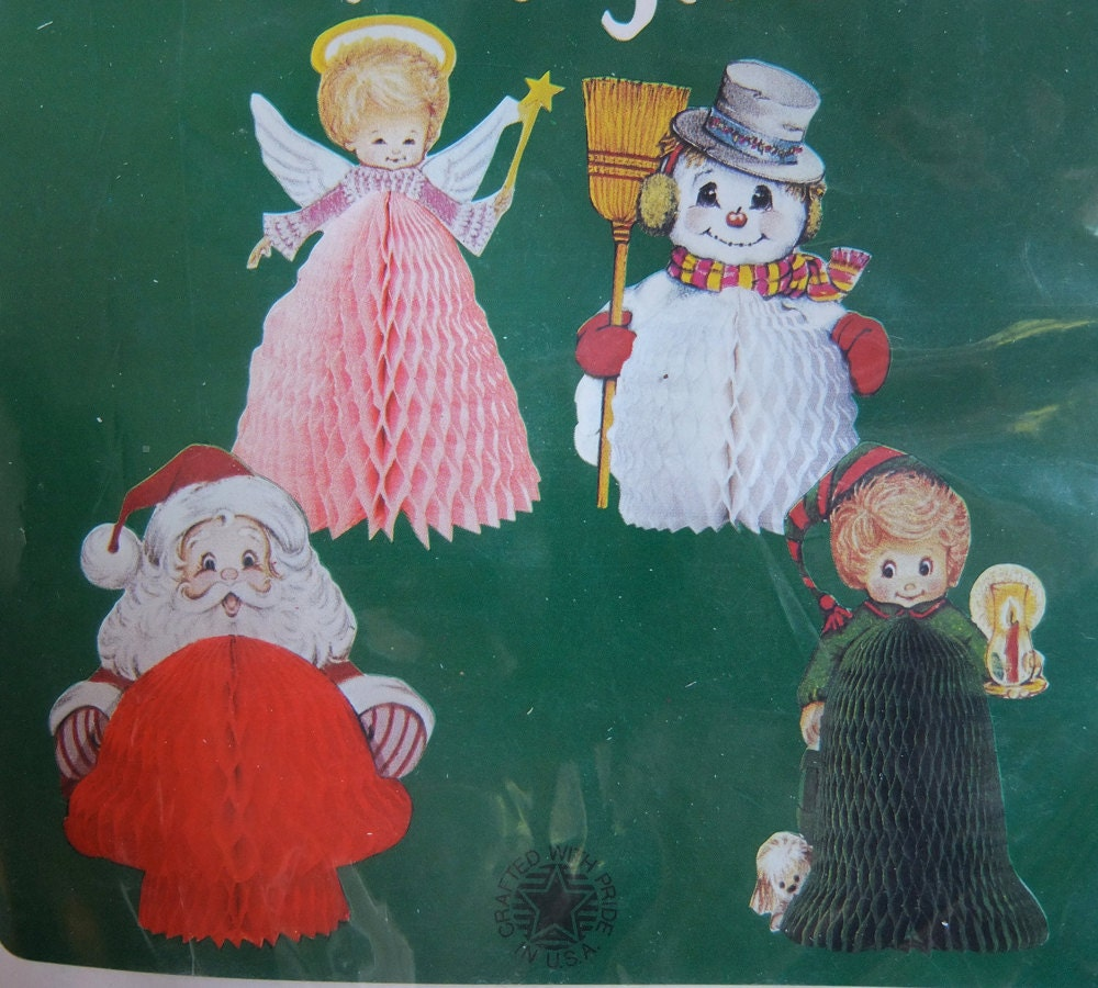 Set Of 4 Vintage 1980 Christmas Decorations Sealed By