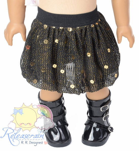 "Black Elastic Banded Waist Black/Gold Sparkly with Gold Sequins Mesh Tulle Bubble Skirt Doll Clothes Outfit for 18"" American Girl dolls"