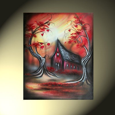 Original Fantasy Landscape Artwork House With Heart Trees 16x20 Red Orange Yellow